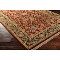 Hand-knotted Finial Red Wool Area Rug - 8' x 8'
