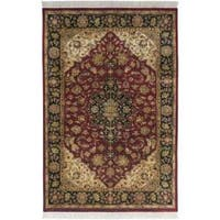 Hand-knotted Finial Burgundy Burgundy Wool Area Rug (5'6 x 8'6)