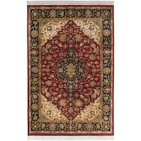 Hand-knotted Finial Burgundy Burgundy Wool Area Rug - 5'6 x 8'6