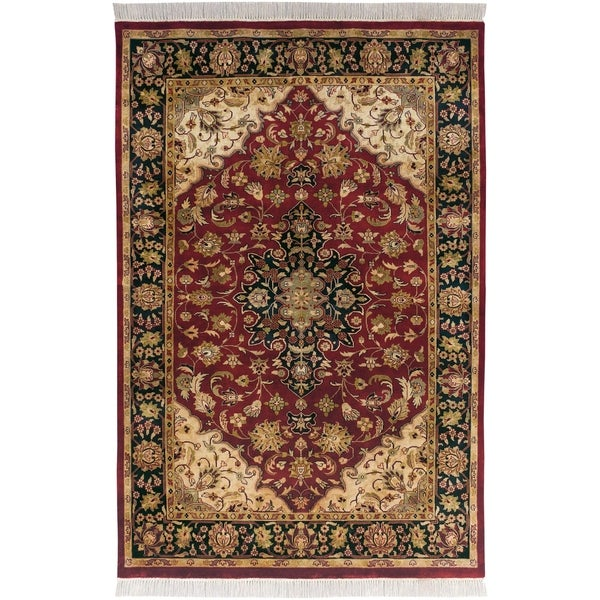 Hand-knotted Finial Burgundy Burgundy Wool Area Rug - 7'9 x 9'9