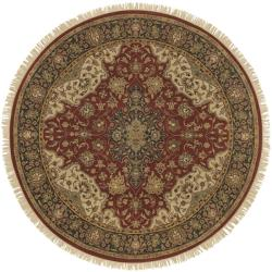Hand-knotted Finial Burgundy Burgundy Wool Rug (8' Round)
