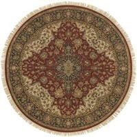 Hand-knotted Finial Burgundy Burgundy Wool Area Rug (8' Round)