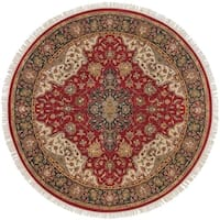 Hand-knotted Finial Burgundy Burgundy Wool Area Rug - 8'