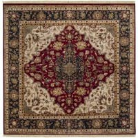 Hand-knotted Finial Burgundy Burgundy Wool Area Rug (8' Square)