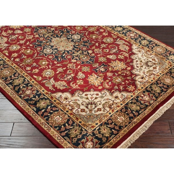 Hand-knotted Finial Burgundy Burgundy Wool Area Rug - 8' x 8'