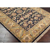 Hand-knotted Taj Mahal Black Wool Area Rug (8' Square)