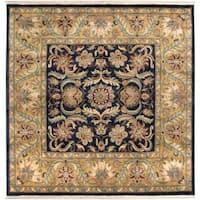 Hand-knotted Taj Mahal Black Wool Area Rug - 8' Square