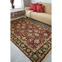"Hand-knotted Taj Mahal Dark Burgundy Wool Area Rug - 5'6"" x 8'6"""