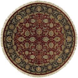 Hand-knotted Taj Mahal Dark Burgundy Wool Rug (8' Round) - Thumbnail 2