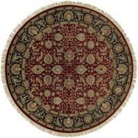 Hand-knotted Taj Mahal Dark Burgundy Wool Area Rug (8' Round)