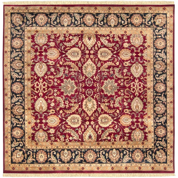 Hand-knotted Taj Mahal Dark Burgundy Wool Rug (8' Square)