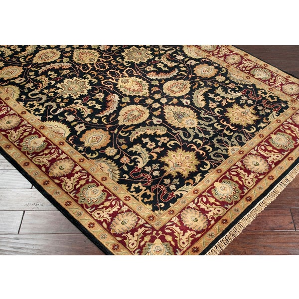 Hand-knotted Finial Black Wool Rug (5'6 x 8'6)