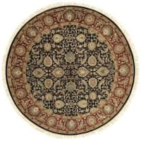Hand-knotted Finial Black Wool Area Rug - 8' x 8'