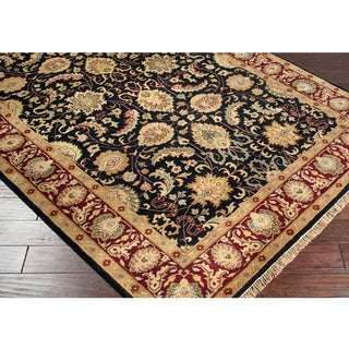 Hand-knotted Finial Black Wool Rug (8' Square)