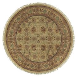 Hand-knotted Gold Wool Rug (8' Round) - Thumbnail 2