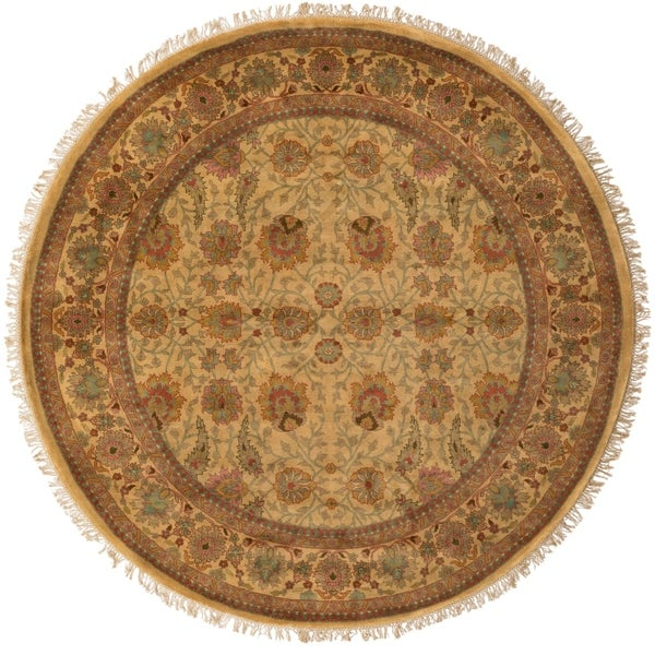 Hand Tufted Agra Red Gold Wool Rug 8 Round: Shop Hand-knotted Gold Wool Area Rug