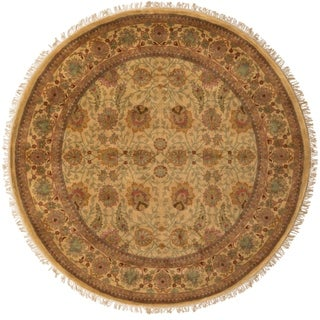 Hand-knotted Gold Wool Area Rug - 8' Round