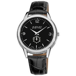 August Steiner Men's Swiss Quartz Leather Silver-Tone Strap Watch