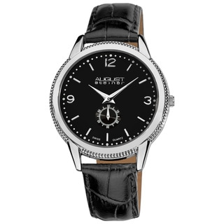 August Steiner Men's Swiss Quartz Leather Silver-Tone Strap Watch
