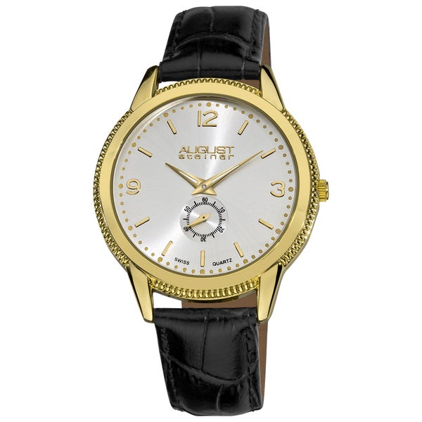 August Steiner Men's Leather Gold-Tone Strap Watch