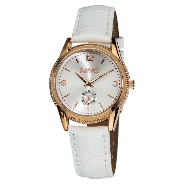 August Steiner Women's Leather Swiss Quartz Rose-Tone Watch