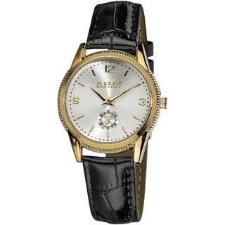 August Steiner Women's Leather Gold-Tone Strap Watch