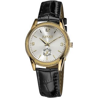 August Steiner Women's Leather Gold-Tone Strap Watch