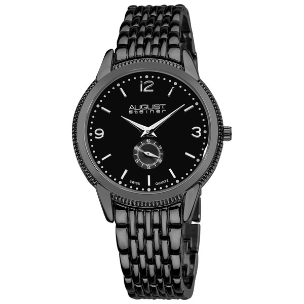 August Steiner Men's Black Swiss Quartz Watch