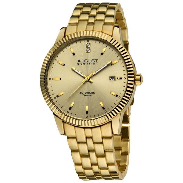 August Steiner Men's 'Diamond' Automatic Gold-Tone Watch