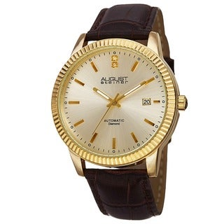 August Steiner Men's 'Diamond' Gold-Dial Automatic Watch