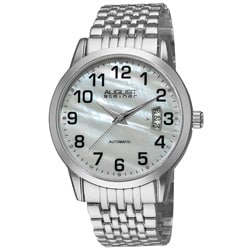 August Steiner Men's Automatic Mineral-Crystal Silver-Tone Bracelet Watch