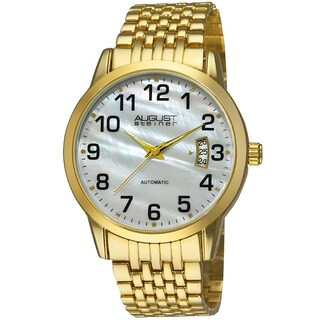 August Steiner Men's Automatic Mother of Pearl Gold-Tone Bracelet Watch
