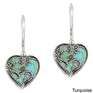 Glitzy Rocks Sterling Silver Marcasite and Gemstone Heart Earrings