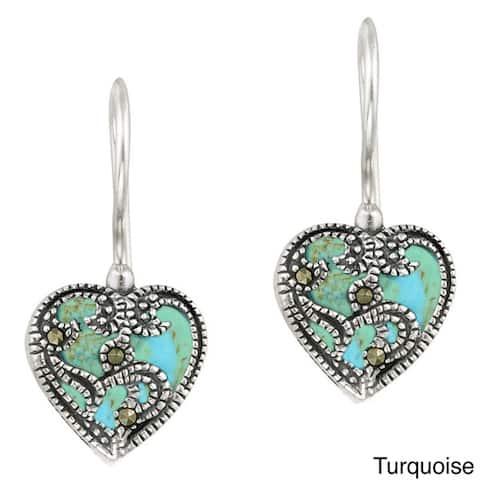 Glitzy Rocks Sterling Silver Marcasite and Gemstone Heart Earrings
