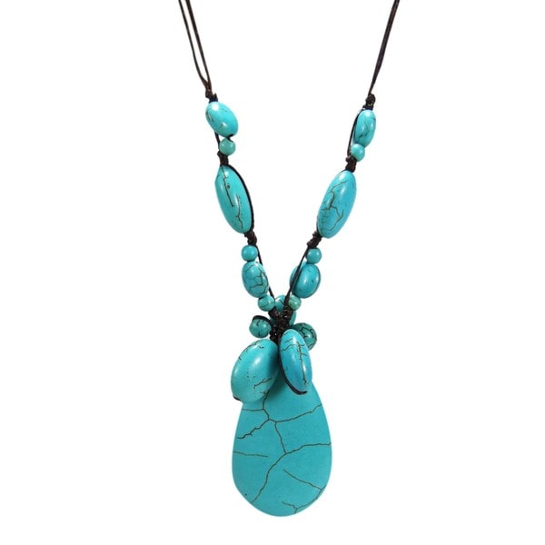 Handmade Reconstructed Turquoise Teardrop Necklace (Thailand)