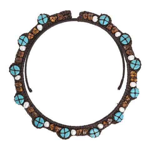 Handmade Reconstructed Turquoise/ Tiger's Eye Choker Necklace (Thailand)