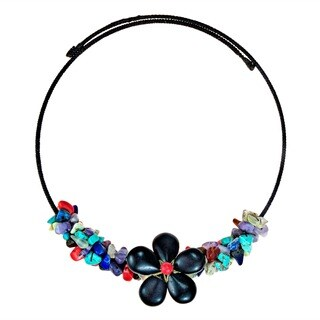Reconstructed Turquoise/ Onyx Floral Choker Necklace (Thailand)
