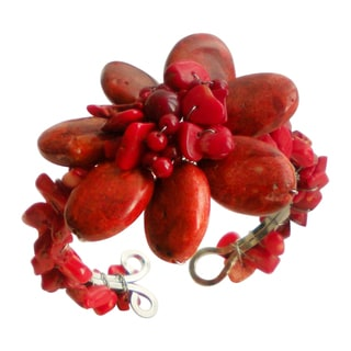 Red Coral Floral Beaded Organic Cuff Bracelet (Thailand)