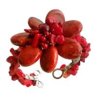 Handmad Synthetic Coral Beaded Organic Cuff Bracelet (Thailand) - Red