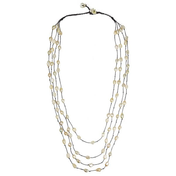 Handmade Cotton Rope Layered White FW Pearl/ MOP Necklace (8-10 mm) (Thailand)