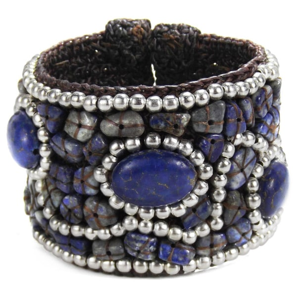 Handmade Cotton Rope Coral/ Quartz/ Lapis/ Turquoise Brass Wire Cuff (Thailand)