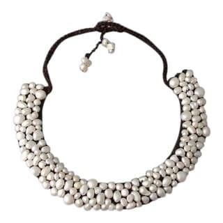 Handmade Freshwater Pearl Mosaic Bib Necklace Thailand