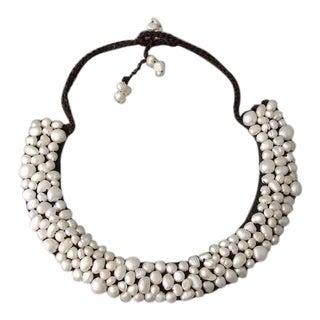 Handmade Freshwater Pearl Mosaic Bib Necklace (Thailand)
