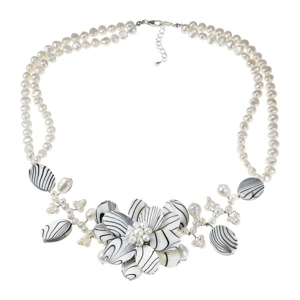 Silver Triple Zebra Flower Shell/ Pearl Necklace (6-15 mm) (Thailand)