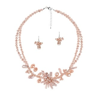 Handmade Pink Pearl Floral Necklace Earrings Set (Thailand)