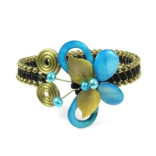 Handmade Brass Pearl and Mother of Pearl Butterfly Wire Cuff (Thailand)