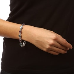 La Preciosa Sterling Silver Amethyst and Blue Topaz Gemstone Link Bracelet