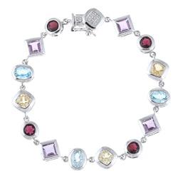 La Preciosa Sterling Silver Multi-gemstone Link Bracelet