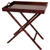 Handmade Rosewood Bamboo-style Trestle Stand Tea Tray (China)