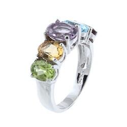 La Preciosa Sterling Silver Oval-cut Multi-gemstone Ring